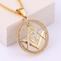 ag masonic round mens necklace sliding crystal inlaid pendant metal necklace accessories party jewelry