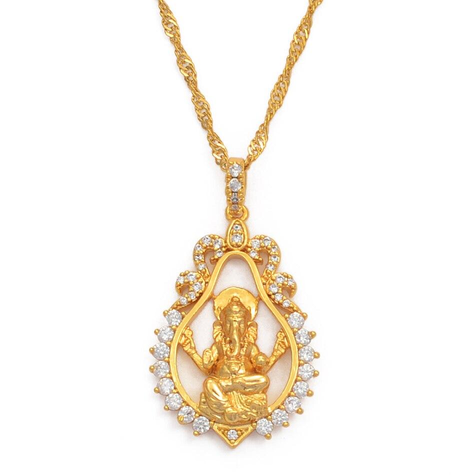 Hinduism индийская религиозная подвеска Ганеша ожерелья для женщин девочек золотого цвета и кубического циркония Бог Слон ожерелья