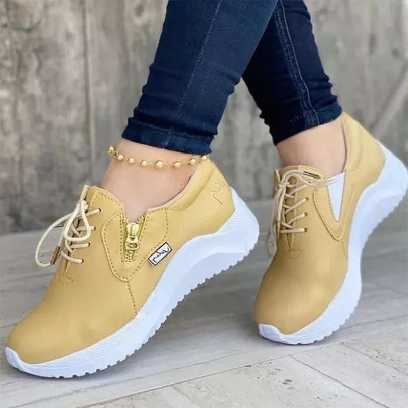 Ladies Fashion Sports Shoes Vulcanized Soft and Comfortable Outdoor Leisure Lace-up Pure Color Autumn Shoes Casual Sports Shoes casual lace up color splice skate shoes