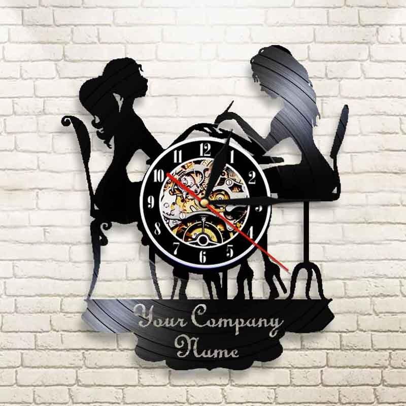 ساعة حائط مخصصة لصالون الأظافر ، افعلها بنفسك ، اسم فينيل ، مع شعارك ، ديكور المنزل