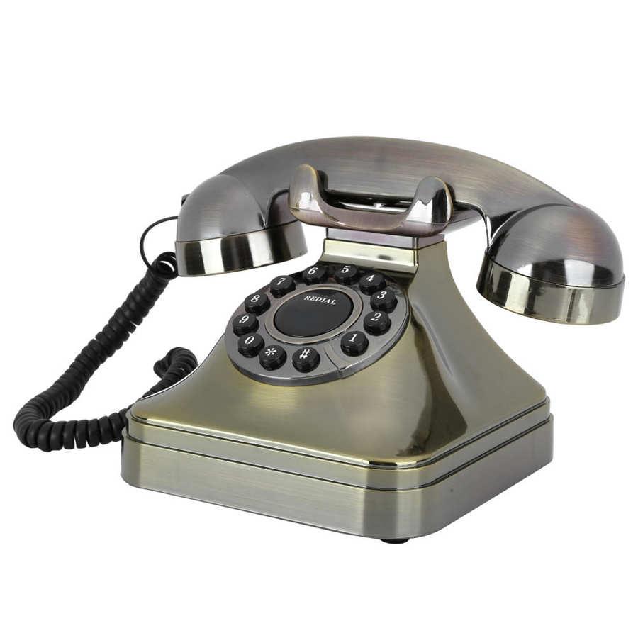 Teléfono inalambrico Vintage, teléfono fijo, Bronce Antiguo, llamada de alta definición, botón...