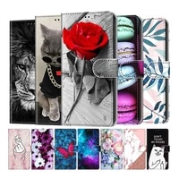 wallet flip case for samsung s5 s6 s7 s8 s9 s10 s10e s20 plus cover flower cat fundas cover for iphone 6 6s 7 8 mobile phone bag