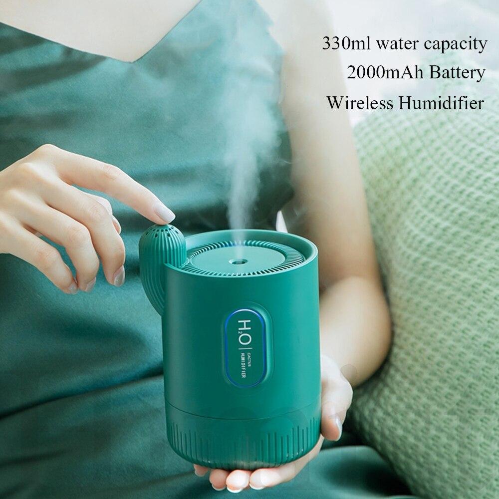 Difusor ultra-sônico fresco do óleo essencial do aroma da névoa do cacto da bateria recarregável sem fio portátil do umidificador de ar 2000mah