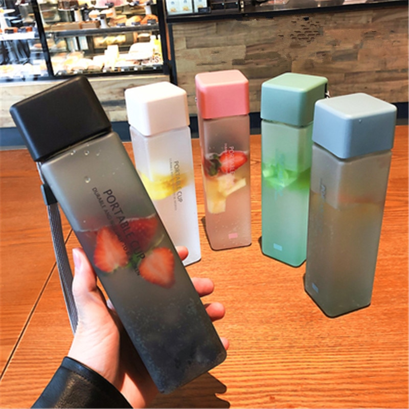 New Square Frosted Plastic Water Bottle Portable Transparent Bottle Fruit Juice Leak-proof Outdoor S