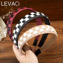 LEVAO PU Leather Hair Hoop Fashion Checkerboard Style Design Hair Accessories For Ladies Braided Hea