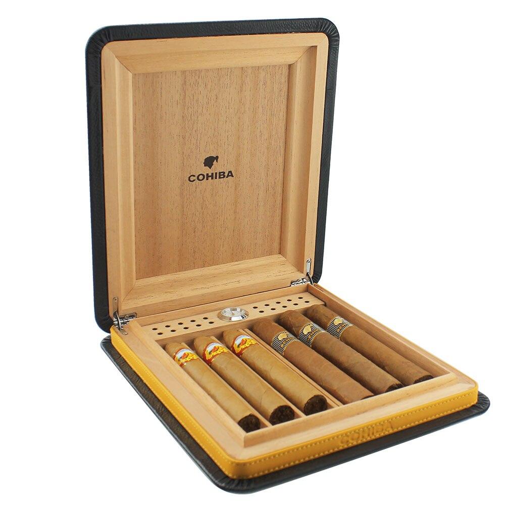 COHIBA portátil de cuero de Viaje Funda para puros forrado con madera de cedro humidificador de cigarros sin encendedor de puros y cortador de puros