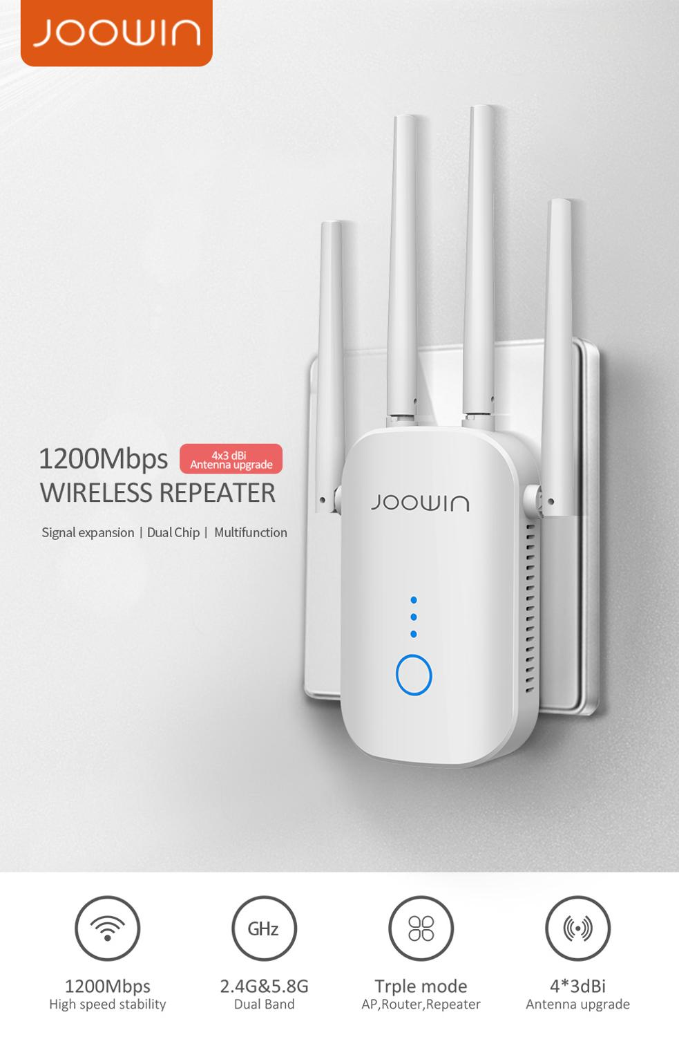 Joowin JW-WR758AC 1200Mbps High Speed Wifi Repeater 2.4G&5.8G Dual Band Wireless Extender Use 4*3 dBi Antennas Long Signal