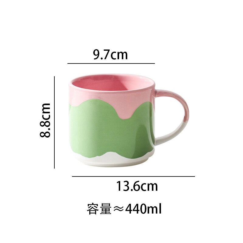 Creative Painted Mug Cute High Temperature Ceramic Coffee Cup Children Breakfast Milk Cup Office Tea Cup Couple Birthday Gift