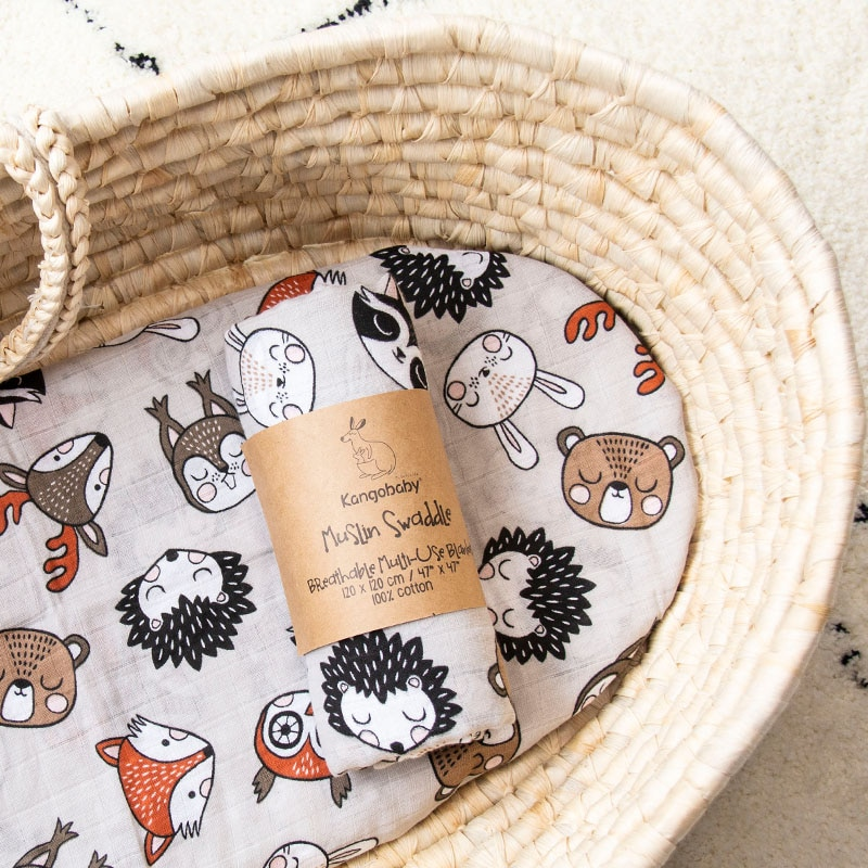 Kangobaby Fashion Muslin Swaddle Cloth Diaper Wrap Baby Receiving Blanket Squares Babyroom Decor 120x120cm 100% Cotton