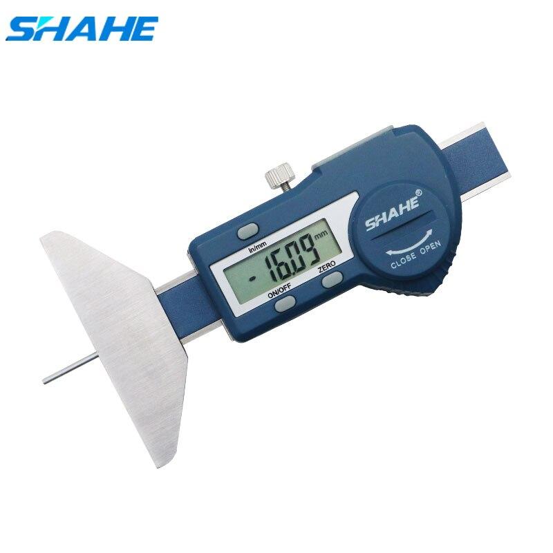 Shahe الرقمية مقياس عمق الفرجار مقياس عمق الخطوات ل سيارة الإطارات 0-25/0-50 مللي متر مقياس قياس عمق الفرجار LCD الإطارات فقي