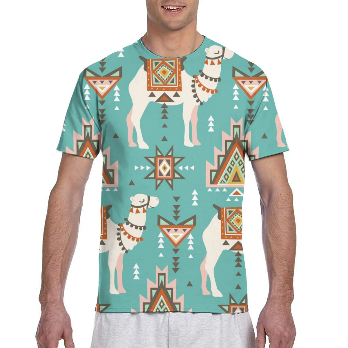 Camiseta étnica con estampado bohemio del desierto para hombre, camiseta de verano 2020 con cuello redondo para hombre