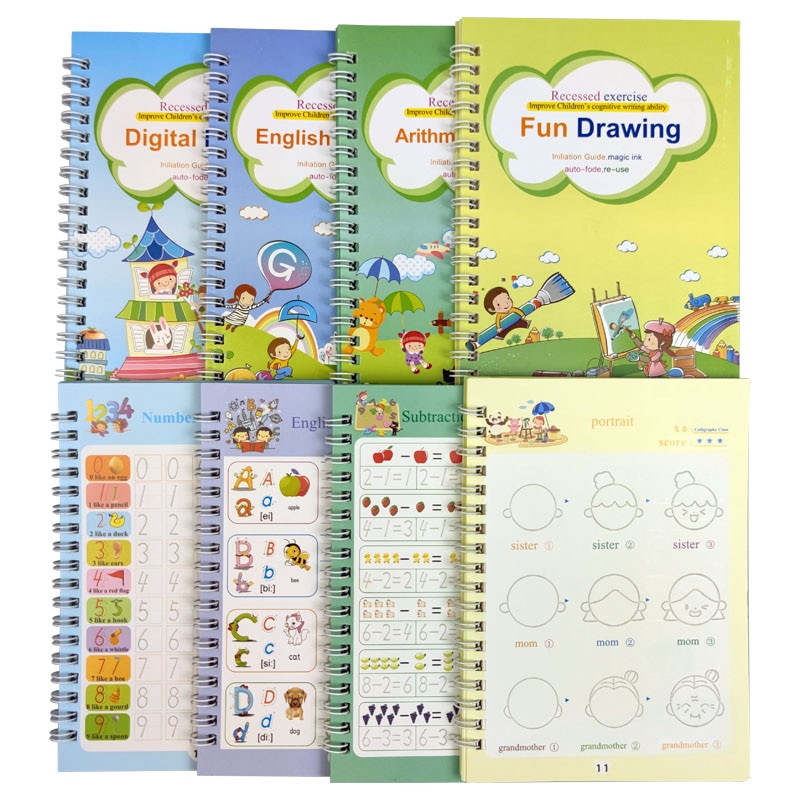 4 Books Reusable Copybook For Calligraphy Learn Alphabet Painting Arithmetic Math Children Handwriting Practice Books Baby Toys