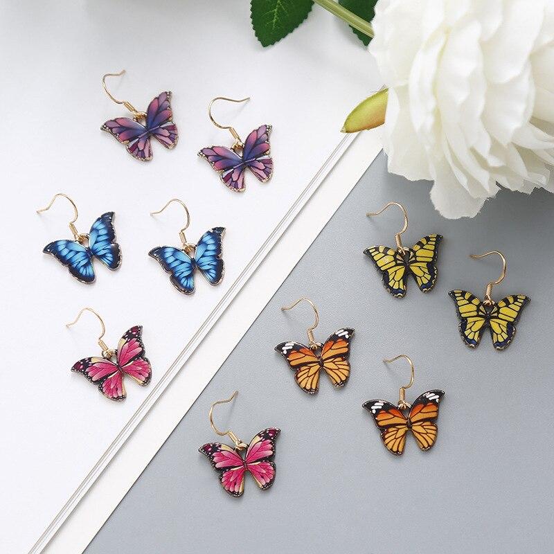 Minar multicolore papillon boucles doreilles pour les femmes 2020 mode coloré dégradé Simulation aile goutte boucles doreilles fête bijoux