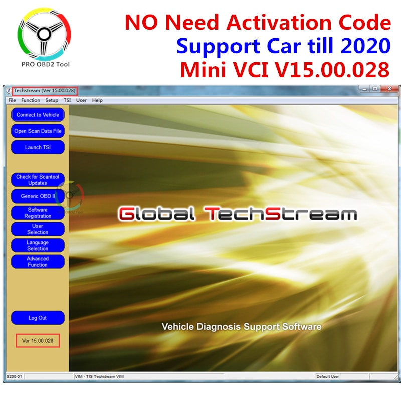 MINI VCI V14.20.019 pour TOYOTA TIS Techstream Support logiciel 2020 Mini vci V15