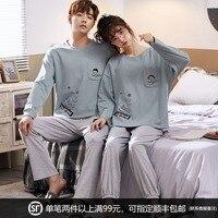 Couple Pajamas Long Sleeve Cotton Thin Spring and Autumn Korean Style Men\'s Home Wear Women\'s Cute Cotton Suit GLQ
