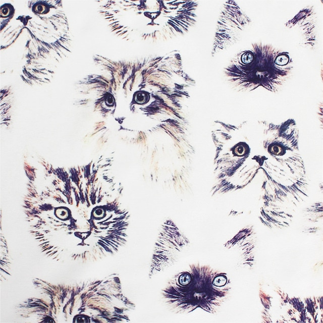 140cm Wide Kawaii Cat Printed Textile Polyester Chiffon Fabric Patchwork Cloth Sewing Material DIY  for Garment Dress Making