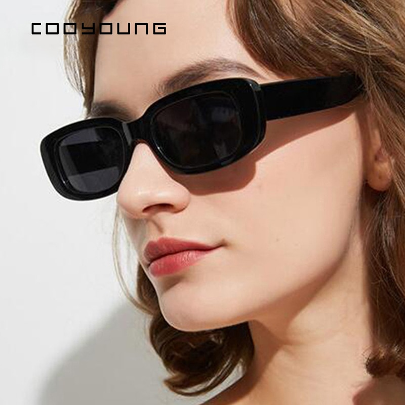 COOYOUNG Small Rectangle Sunglasses Women Vintage Brand Designer Square Sun Glasses Shades Female UV