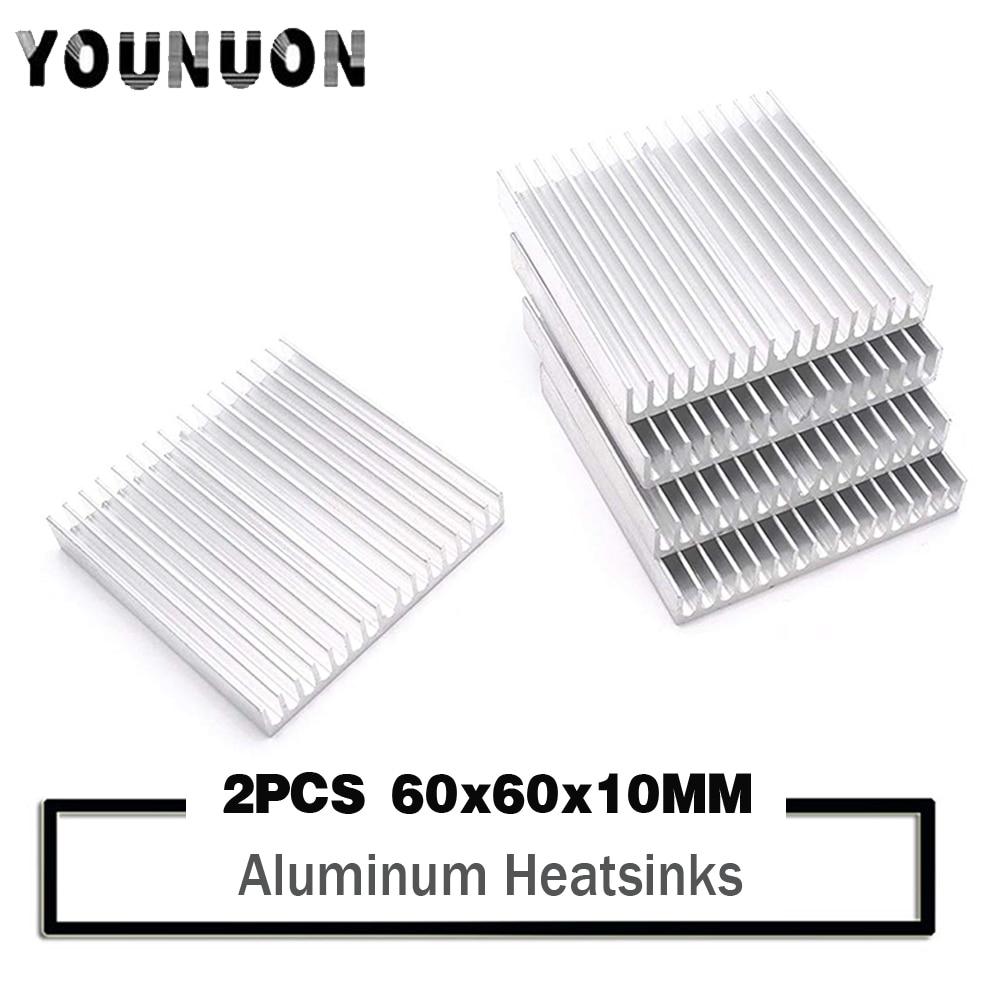 2PCS YOUNUON Silver Heat sink 60*60*10MM Aluminum IC Heatsink Radiator Cooler Cooling Power Transistor 60x60x10mm 60mm 6cm