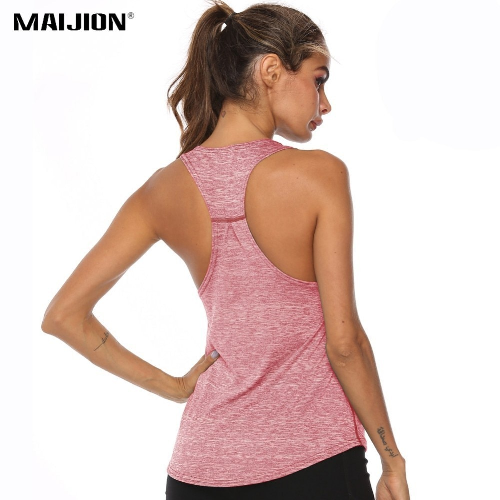 MAIJION, camisetas de Yoga para mujer, camiseta de secado rápido, chaleco deportivo para correr, camiseta de entrenamiento, Sujetador deportivo, camisetas sin mangas de Yoga, sin mangas, Fitness