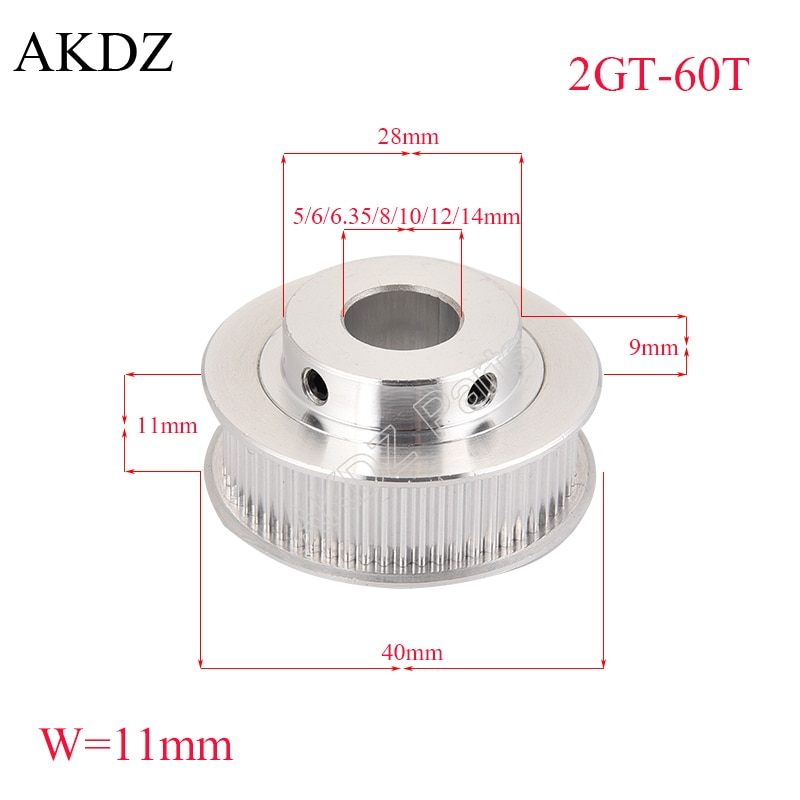 60 teeth GT2 Timing Pulley Bore 5mm 6.35mm 8mm 10mm 12mm 14mm for belt width 9/10mm used in linear 2GT pulley 60Teeth 60T