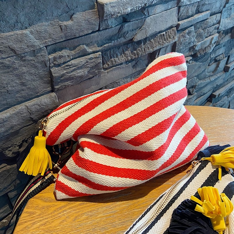 Cosmetic Bag Women Striped Makeup Case Organizer Korean Tassel Cosmetic Pouch Necesserie Travel Toiletry Bag Canvas Beauty Case