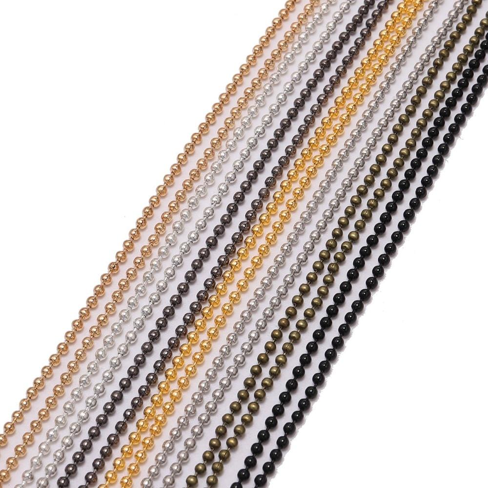 Металлические Шариковые цепи, 5 м/лот, 1,2, 1,5, 2 мм, оптом, золотые/черные цепи для рукоделия, ожерелья, браслеты, ювелирные изделия, принадлежности для изготовления