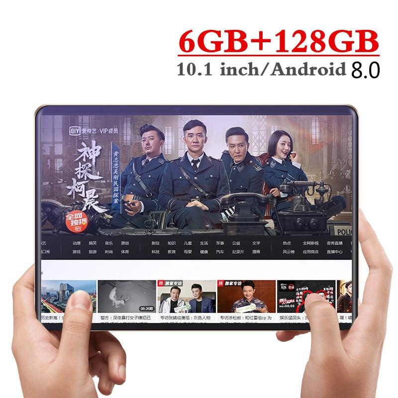 10.1 Polegada 4g lte chamada de telefone comprimidos octa núcleo tablet pc android 8.0 tablet 6g ram + 128gb rom duplo sim pc tablet fm wifi gps