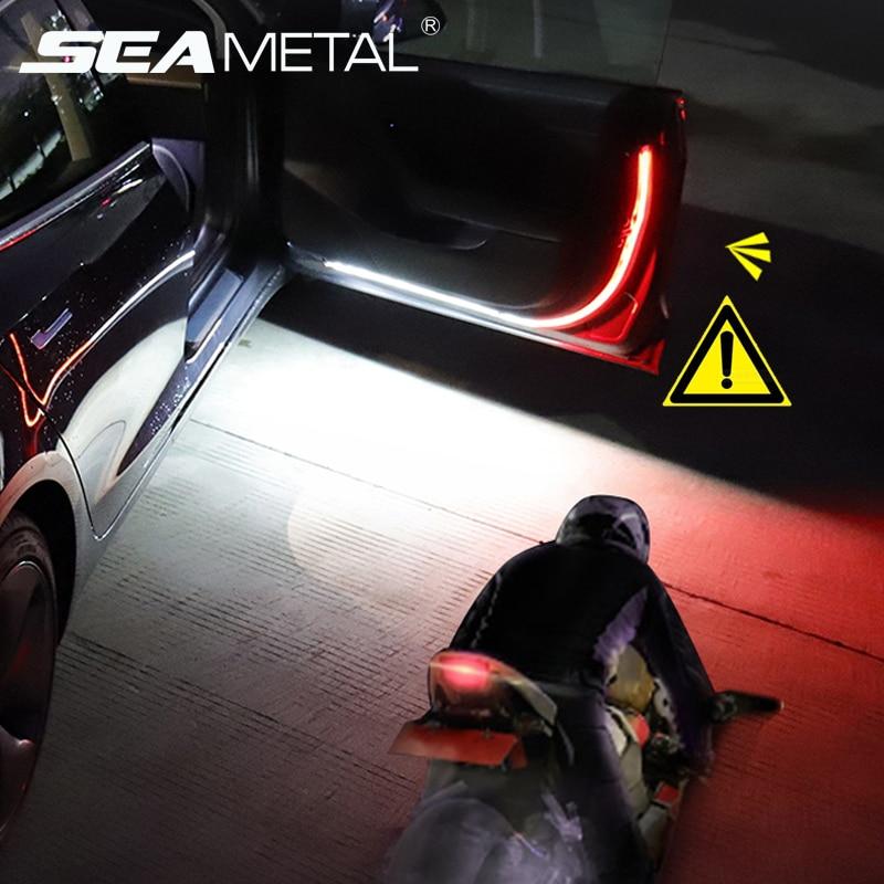12V Car Door Warning Lamp Auto Door LED Strip Light Universal Door Open Lights Strobe Safety Ambient Lamps 120cm Fexible Strips