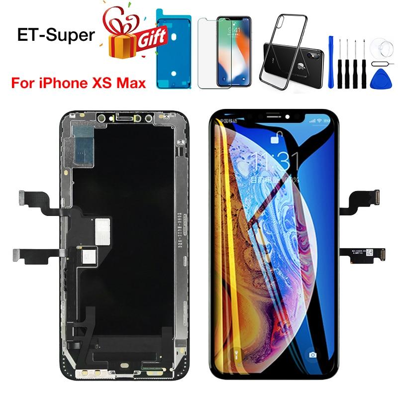 Super reemplazo de LCD para iPhone Xs Max, 3D digitalizador de pantalla con pantalla táctil, partes Aseembly negro 100% probadas, sin píxeles muertos
