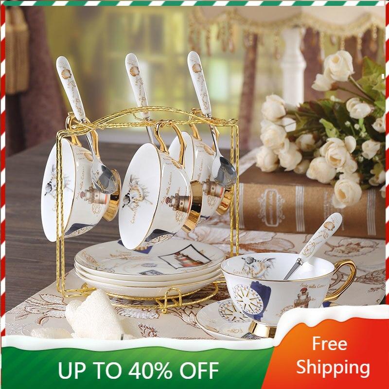 Taza de café de lujo de cerámica de hueso de China, juego de tazas de café de color dorado, Crema, capuchino, Vaso europeo Plegable, reutilizable, AA50BD