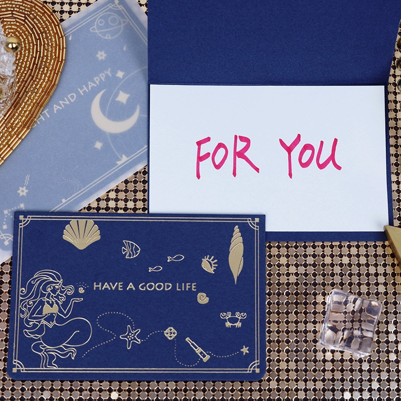 Праздничная открытка, креативная космическая поздравительная открытка с изображением русалки, праздничный подарок, спасибо, открытка с конвертом, маленькая открытка на день Святого Валентина, пригласительная открытка