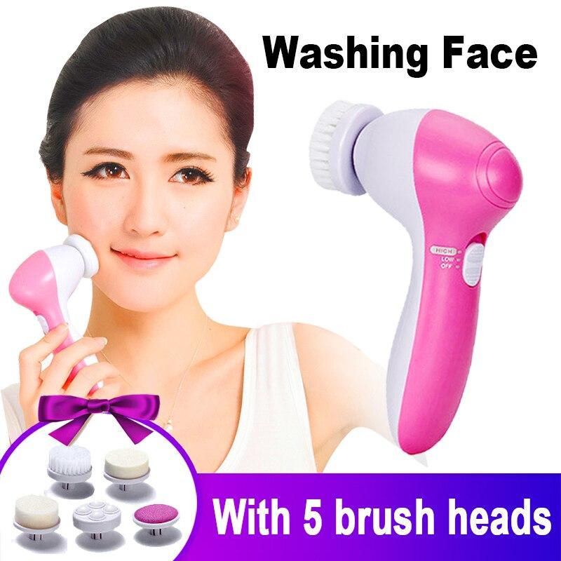 Limpiador Facial eléctrico, máquina limpiadora de rostro, limpiador de poros de la piel, Mini cepillo masajeador de belleza, masaje de limpieza corporal 5 en 1
