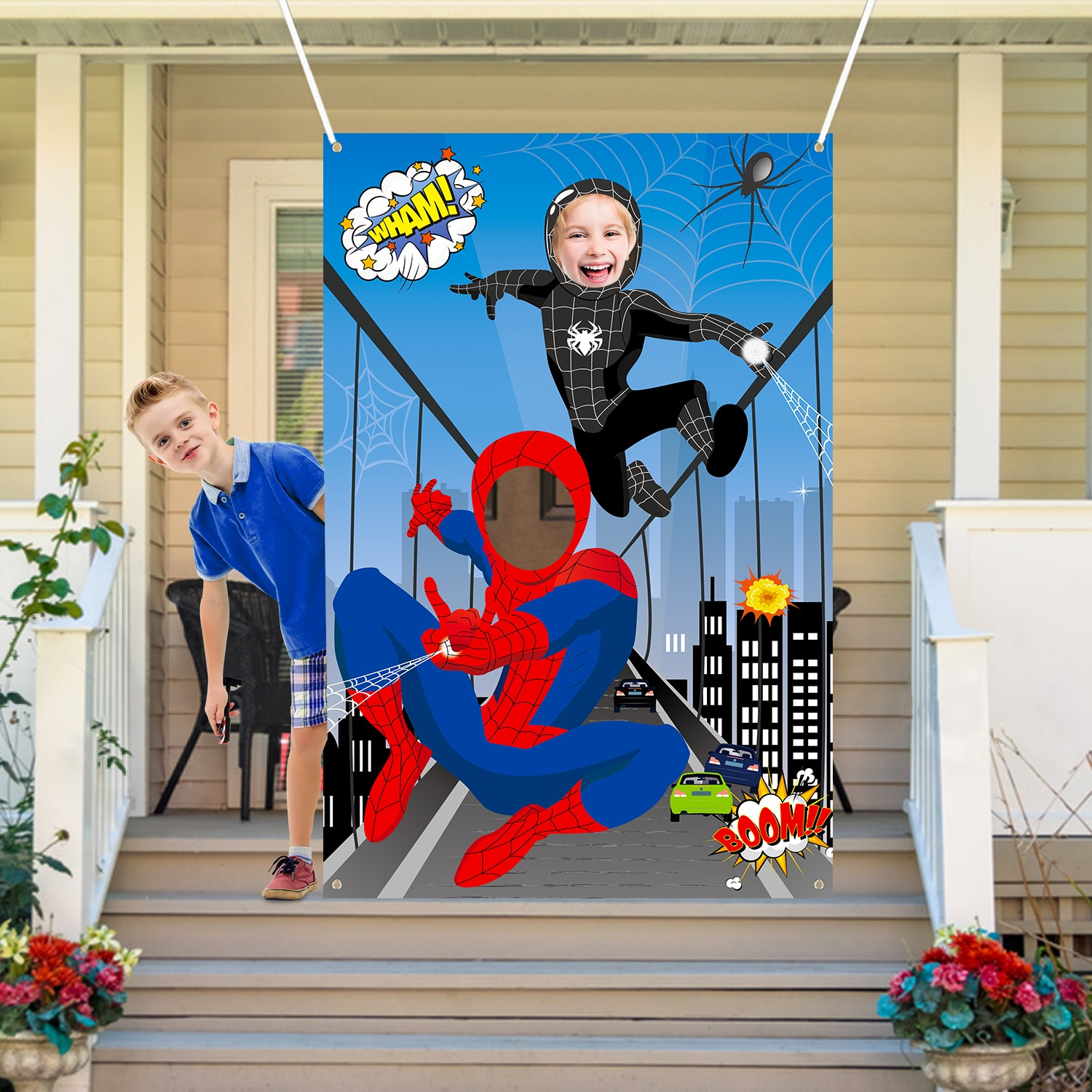 Spider Photo man Door Banner Large Fabric Face Photography Background Hero Superhero Theme Party Supplies for bKids