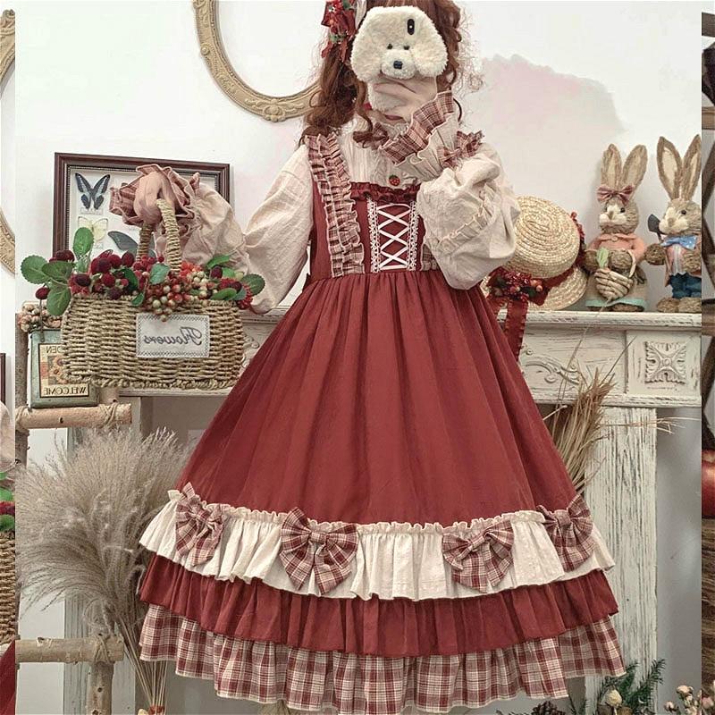 Vintage japonés adorable Vestido de Lolita Falbala Bowknot soporte linterna manga Anime chica Kawaii Gothic Lolita Op Loli Cosplay vestido