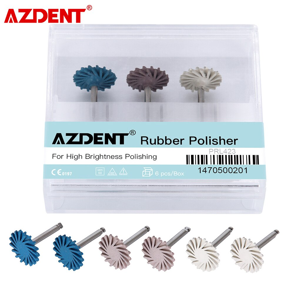6pcs/Box AZDENT Dental Composite Polishing DiamondSystem RA Disc 14mm Wheel Oral Hygiene Teeth Polisher Kits Spiral Flex Brush