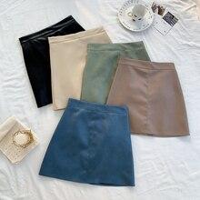 Women's Skirt Autumn Solid High Waist Slimming Letter Mini Skirt Korean Style Fashion Girls Sweet Bo