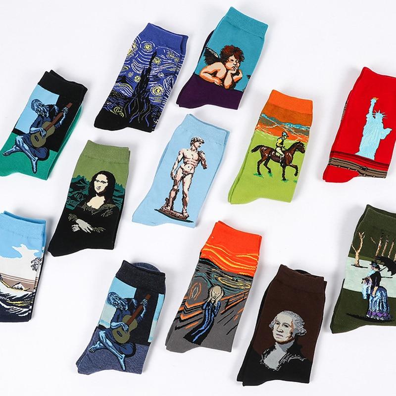 Oil Painting Womens Socks Classic Art Van Gogh Starry Night World Famous Men Long Cotton Fashion Casual Sokken For Female