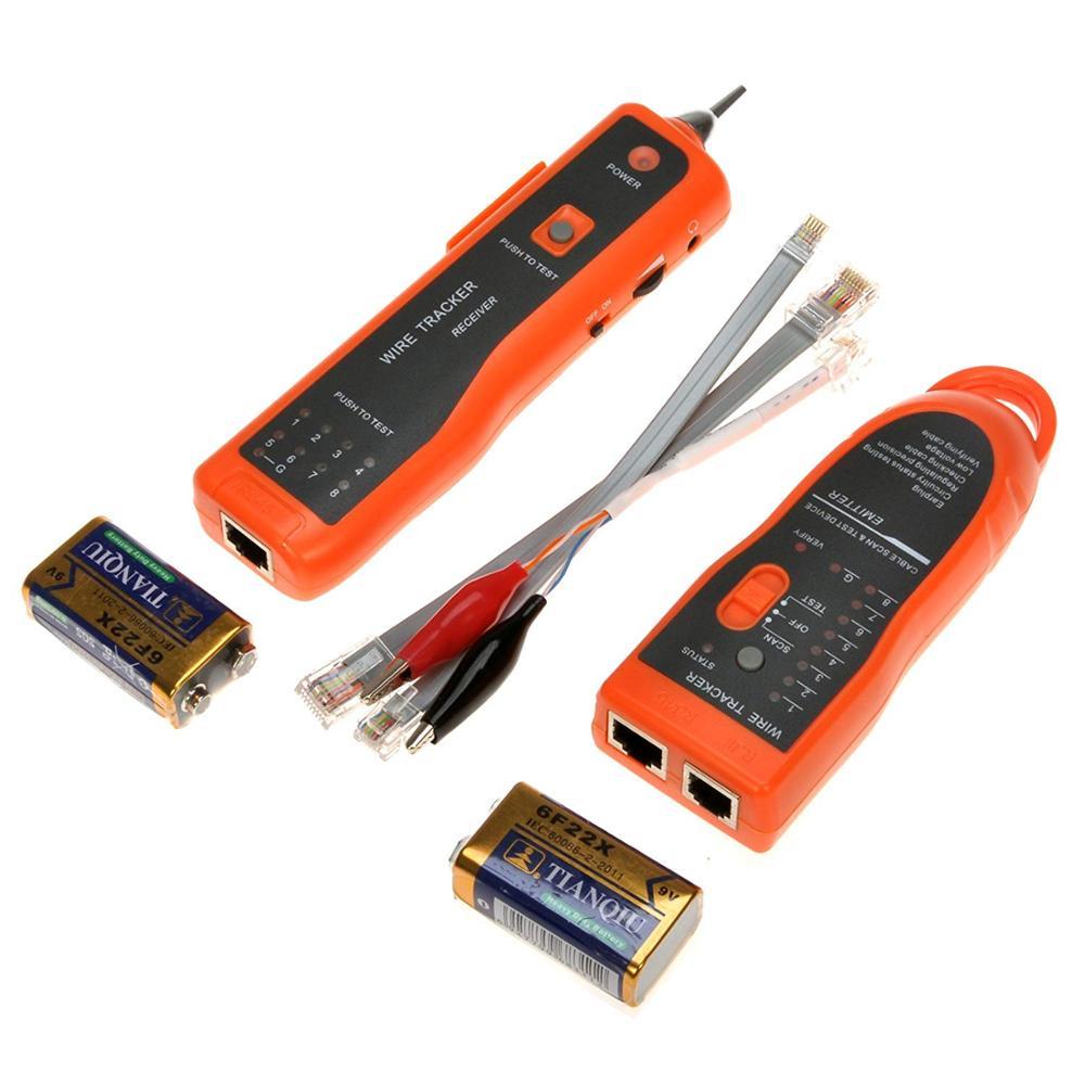 XQ-350 portátil RJ45 RJ11 Cat5 Cat6 LAN Cable Tester Teléfono Cable rastreador línea red buscador LAN Ethernet Detector herramienta Kit