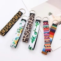 trendy sunflower leopard printed keychain for women key chain lanyard long hanging strap key holder key rings jewelry accessory