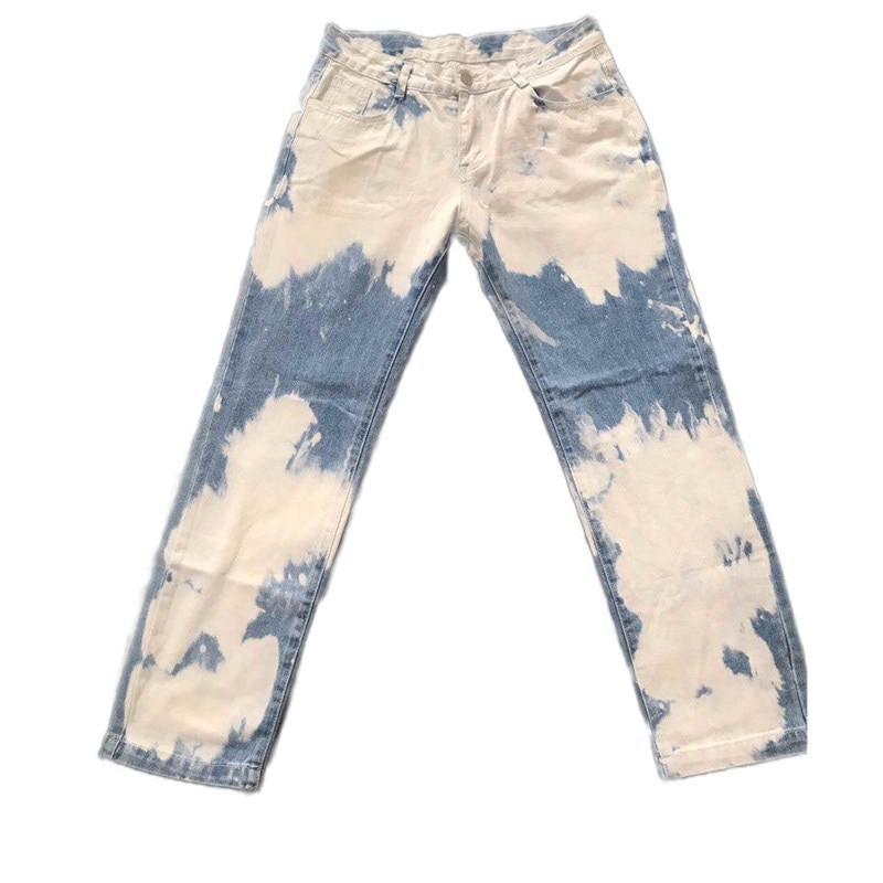 Loose Men's, Washed Straight in White Water, Tie-Dyed Fashion Jean Pants