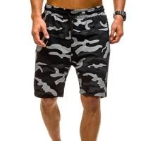 stylish loose camouflage print sweat shorts elastic waist men quick drying zipper pockets drawstring cargo shorts streetwear