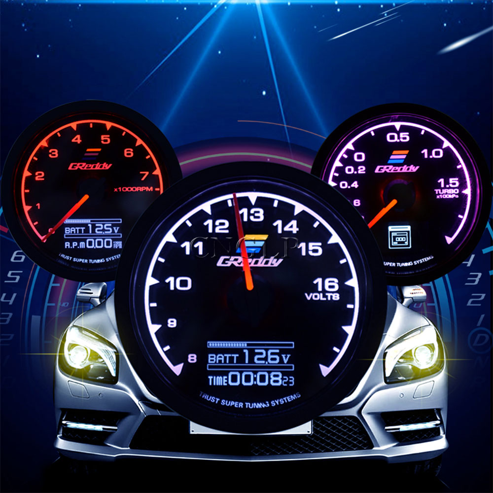 Calibre de carreras GReddi Multi D/A, pantalla Digital LCD de 7 colores en 1 de 62mm, calibre Turbo de impulso, calibre de coche de 2,5 pulgadas