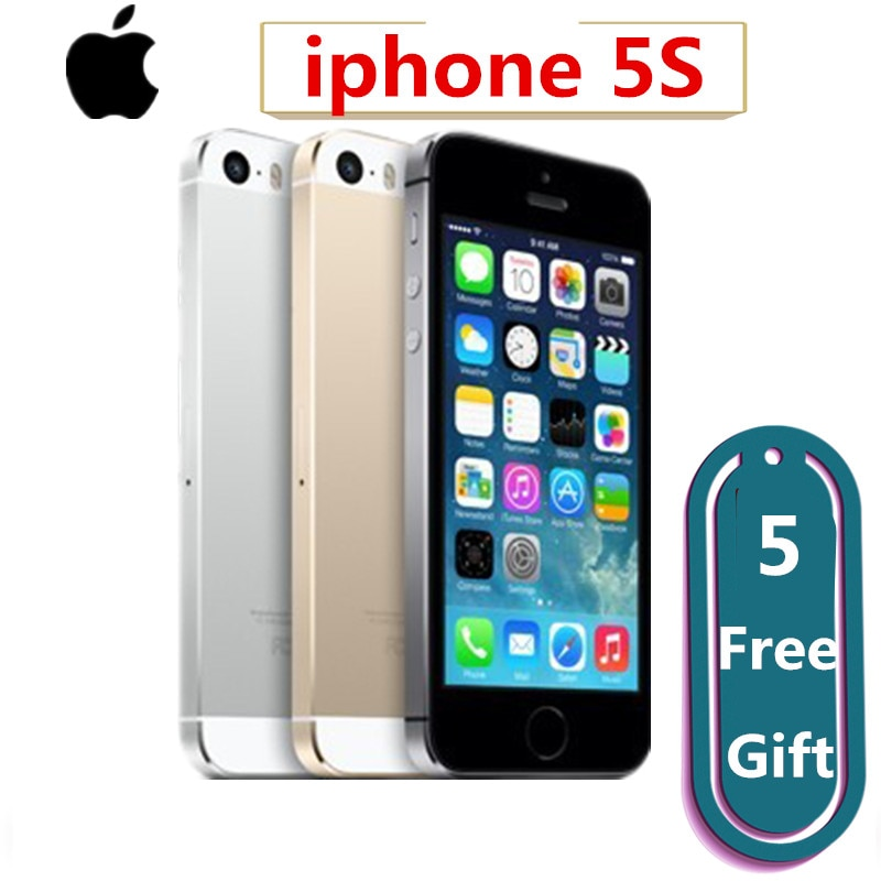 """Celular para apple iphone 5S original, smartphone com núcleo dual core, tela ips de 4 """", câmera de 8mp, 1080p, gps, ios iphone5s desbloqueado telemóvel"""
