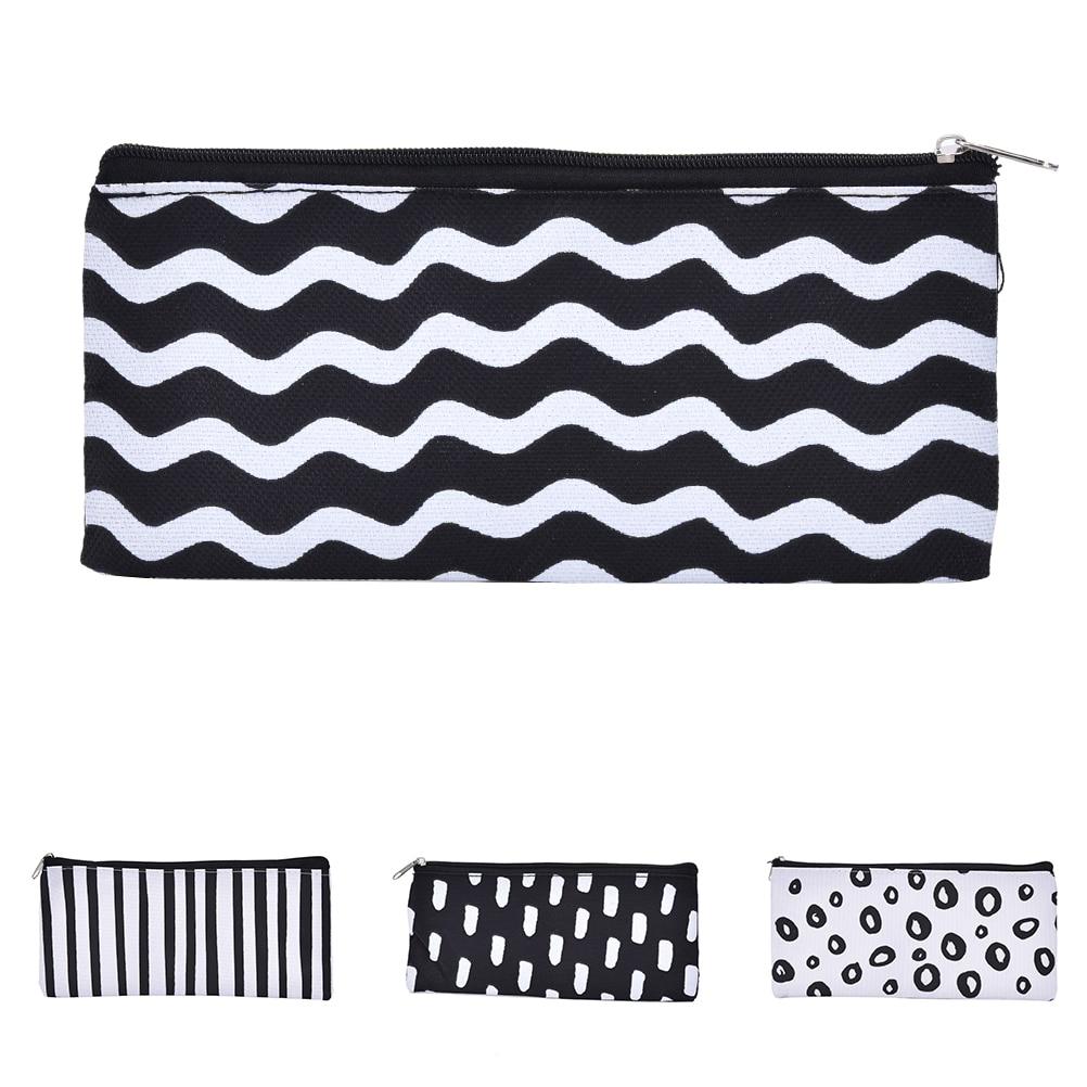 Estuche de lápiz de lona con rayas blancas y negras, bolsa organizadora para almacenamiento Escolar