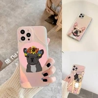 hot french bulldog dog phone case for iphone xiaomi redmi 7 8 9 11 12 10 s x xs xr mini pro max plus laser transparent