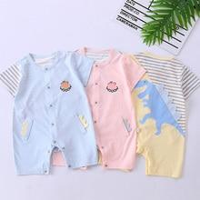 Girl Baby Bodysuits Cotton Cartoon Striped Newborn One Piece Jumpsuit Summer Infant Clothing Boy Rom
