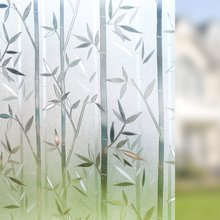 Film de verre électrostatique de 100cm de long   Vinyle 3D bambou, Protection de la confidentialité, autocollant décoratif résistant aux UV, fenêtre amovible givrée