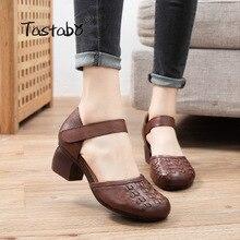 Tastabo manuel-chaussures pour femmes en cuir véritable talon haut décontracté-confortable vent marron noir S2613 tissage motif tête ronde supérieure