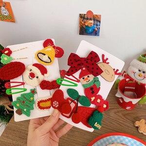 1set New Girls Cute Christmas Cartoon Antlers Hair Clips Santa Claus Hair Ornament Headband Hairpin Fashion Hair Accessories
