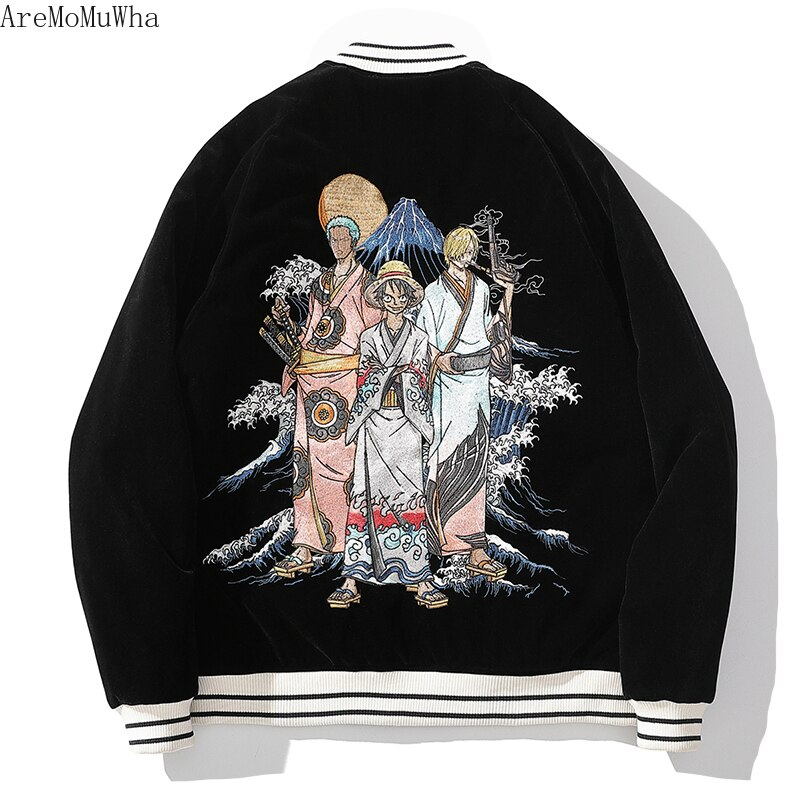 Japanese Anime Embroidered Cotton-padded Jacket Men's Cotton-padded Couple Yokosuka Luffy Sauron Anime Cartoon Baseball Collar